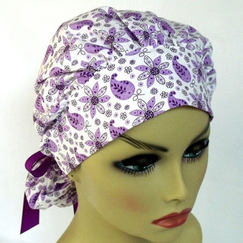 Surgical Scrub Hat or Cap Bouffant Women's Purple Paisley