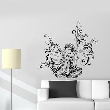 Wall Decal Beautiful Girl Fairy Fantasy Butterfly Pattern Vinyl Sticker Unique Gift (ed805)