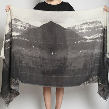 TOTOKAELO - U-Ni-Ty - Mountain Print Scarf - Faded Black Multi ($200-500)
