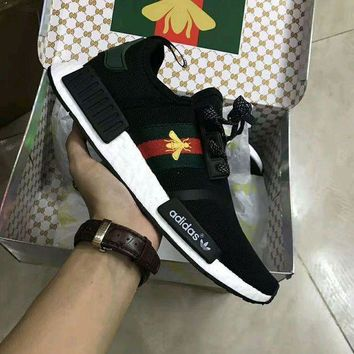 GUCCI X Adidas NMD Fashion Trending Women Men Bee Pattern Casual Running Sport Sneakers Shoes I
