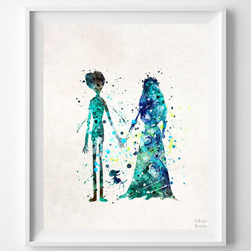 Nightmare Before Christmas Print, Jack and Sally, Type 2, Tim Burton Watercolor Art, Nursery Posters, Kids Wall Art, Halloween Decor