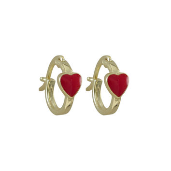 Red Enamel 4.5x5mm Heart On Gold Plated Sterling Silver Baby Huggie Leverback Earrings, 0.44
