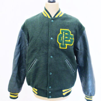 Vintage 1980s VARSITY Green Yellow  Baseball Jacket Heavy Wool / Leather M