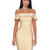 Beige Off Shoulder Bandage Dress with Serrated Trim