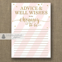 "Advice Card Mommy To Be INSTANT DOWNLOAD 3.5x5"" Blush Pink  Gold Glitter Baby Shower Glam Advice & Well Wishes Printable or Printed- Stella"
