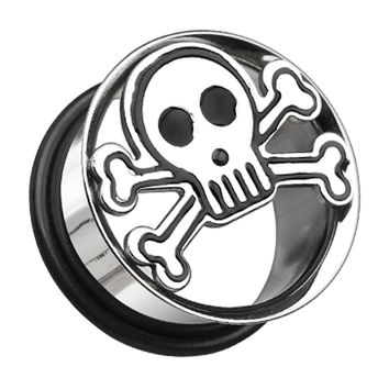 Skull & Crossbones Hollow 316L Surgical Steel Single Flared Ear Gauge Plug