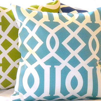 Pillow Set 3 Trellis blue green and navy 16 X 16 by MicaBlue