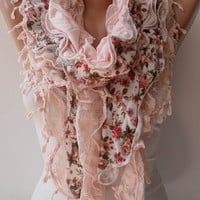 Trendy Salmon Ruffle Scarf - Light Salmon Lace and Cotton Scarf