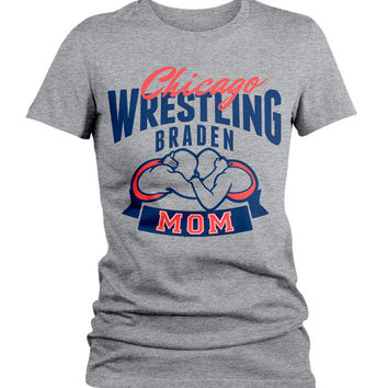 Women's Personalized Wrestling Mom T-Shirt Custom Sports Shirts Wrestler Team Colors Custom Tees