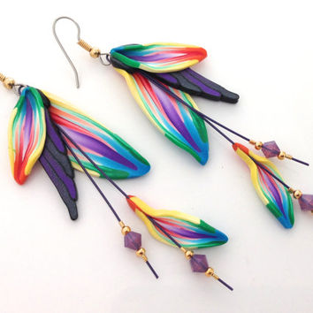 Fimo Earrings Polymer clay earrings beads swarovski crystal rainbow dangle feather handmade fairy floral fantasy leaf kato sculpy fimo