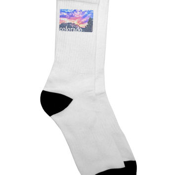 CO Rainbow Sunset Watercolor Text Adult Crew Socks