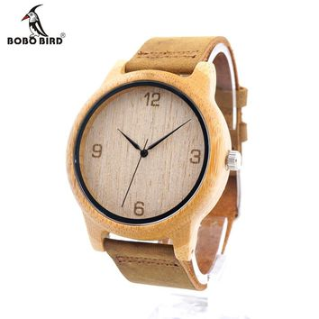 Bamboo Wooden Men Watches with Brown Cowhide Leather Strap