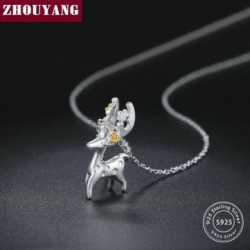 S925 Pendant Necklace For Women Lovely Style 2 Color Deer 925 Sterling Silver Fashion Jewelry Wedding Xmax Gift NY070 ZHOUYANG