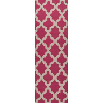 Maroc Coll. Flat-Weave Moroccan Pattern Wool Pink/Ivory Aster Area Rug (2.6 x 8)