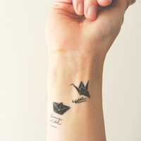 InknArt Temporary Tattoo - 2pcs Origami Crane and Love Boat set wrist quote tattoo body sticker fake tattoo wedding tattoo small tattoo