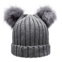 Women's Winter Chunky Knit Double Pom Pom Beanie Faux Fur Hat Women Wool Knit Beanie Bobble Cap Pompom Beanies Gorros W0