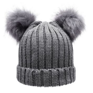 Women's Winter hat Chunky Knit Double Pom Pom Beanie Cap Faux Fur Pompom Hats Women Wool Knit Beanie Bobble Bonnet Gorros