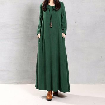 Vintage Women Crew Neck Long Sleeve Solid Pockets Loose Party Maxi Long Dress Casual Cotton Linen Baggy Vestido Tunic Plus Size