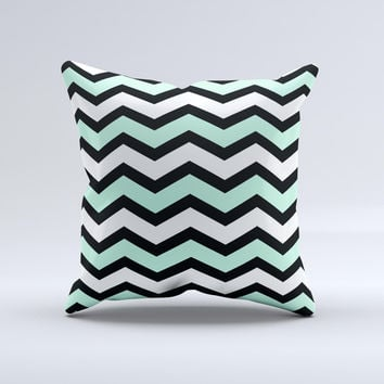 Teal & Black Wide Chevron Pattern  Ink-Fuzed Decorative Throw Pillow