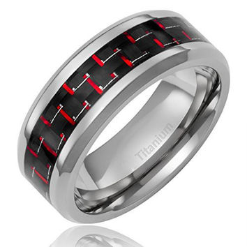 8MM Titanium Ring Wedding Band Black and Red Carbon Fiber Inlay and Beveled Edges