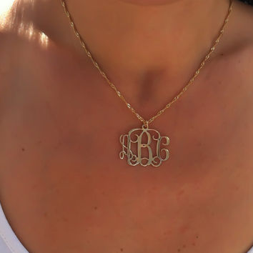 Monogram Necklace 1.25'' Monogrammed Pendant 3 Initials Three 18k Gold Plated Customized Name, Personalized initial necklace