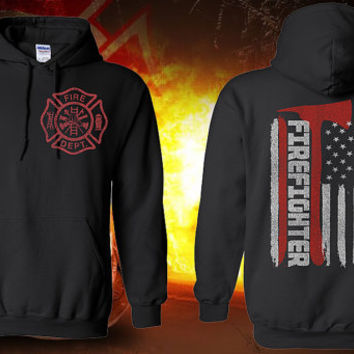 Thin Red Line Fire Hoodie Maltese Cross Hoodie Sweatshirt Firefighter Gift For Him FireFighter Wife Shirt Firefighter Girlfriend Shirt 18500
