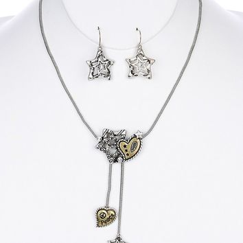 """Marcasite Crystal 15"""" Necklace Set with Matching Earrings"""