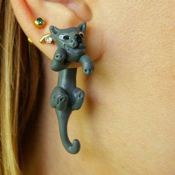 new design fake gauge plug two part earrings grey gray cat, Polymerclay, handmade