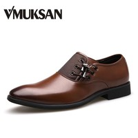 VMUKSAN Brand New Men's Dress Shoes Size 38-47 Black Classic Point Toe Oxfords For Men Fashion Mens Business Party Shoes