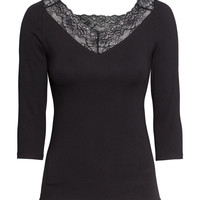 H&M - Jersey Top with Lace
