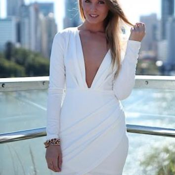 White Plunge Neckline Long Sleeve Drape Skirt Dress