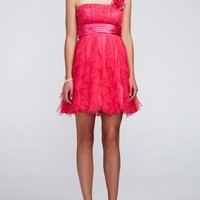 One Shoulder Dress with Ruffle Skirt - David's Bridal- mobile