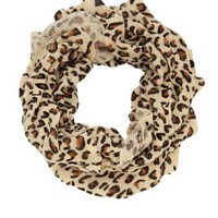 Leopard Print Ruffle Infinity Scarf by Charlotte Russe - Ivory Combo