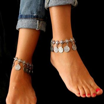 Tomtosh Free shipping  Silver Color Bohemian Metal Tassel Anklet Luxury Charm Coin Ankle Bracelet For Women Jewelry Summer Style