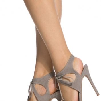 Grey Faux Suede Cut Out Lace Up Single Sole Heels @ Cicihot Heel Shoes online store sales:Stiletto Heel Shoes,High Heel Pumps,Womens High Heel Shoes,Prom Shoes,Summer Shoes,Spring Shoes,Spool Heel,Womens Dress Shoes