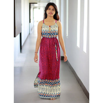 Tribal Magenta Maxi Dress / Ethnic Print Women Dress / Maxi Dress in Magenta, Navy and Orange / Summer Long Dress