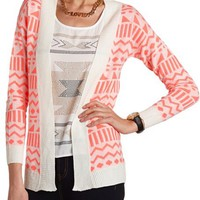 GEOMETRIC OPEN-KNIT CARDIGAN