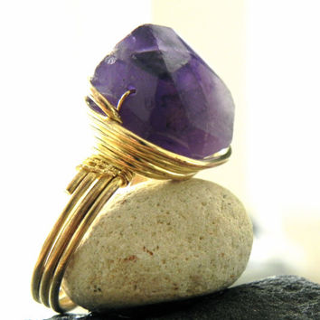 Wire Wrapped Amethyst Crystal Ring - Size 9.5 - Large Stone Statement Ring