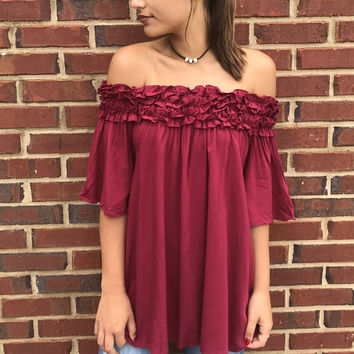 Shruggin' Shoulders Top - Red