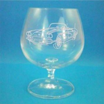 Pair of Bohemia Crystal Brandy Glasses With 1960 Chevrolet Corvette Design with gift box