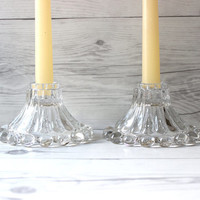 Pair of 2 Vintage Glass Candle Stick Holders | Tablescape or Wedding Decorations