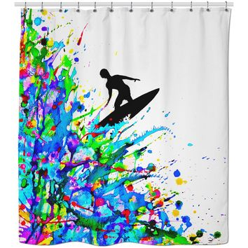 ROSC Color Surfer Shower Curtain