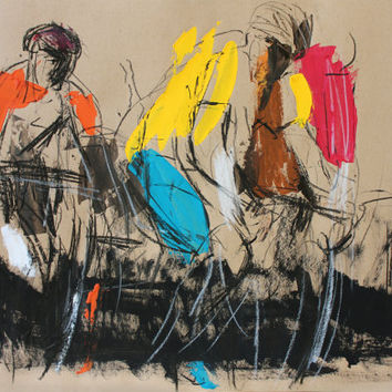 Colorful Original drawing Graphic art Charcoal sketch Figurative Fine art Modrn artwork Home decor Figures Contemporary art Artistic Bicycle