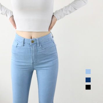 High Waist High Elastic Jeans Women Hot Sale American Apparel Skinny Pencil Denim Pants Fashion Pantalones Vaqueros Mujer