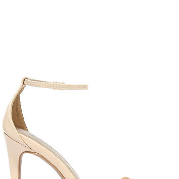 All-Star Cast Nude Patent Ankle Strap Heels