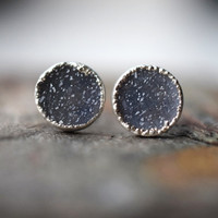 Round Druzy Studs // Blue Grey Earrings // Recycled