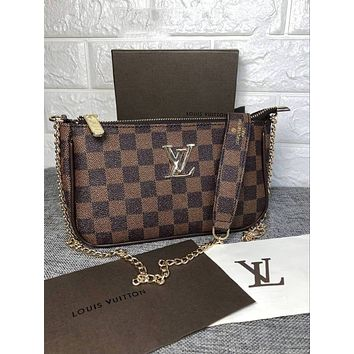 LV 2018 new female models wild fashion shoulder bag chain diagonal female bag Coffee Check