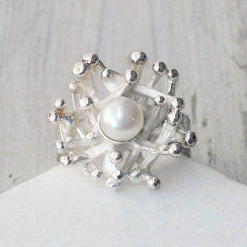 Pearl Ring - Sea Coral Inspired Silver Ring - Bridal Ring - Santorini Jewelry