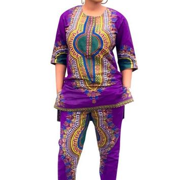 Purple African Print Two Piece Winter Jumpsuit