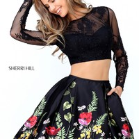 Sherri Hill 50777 Two Piece Floral Print Dress | RissyRoos.com